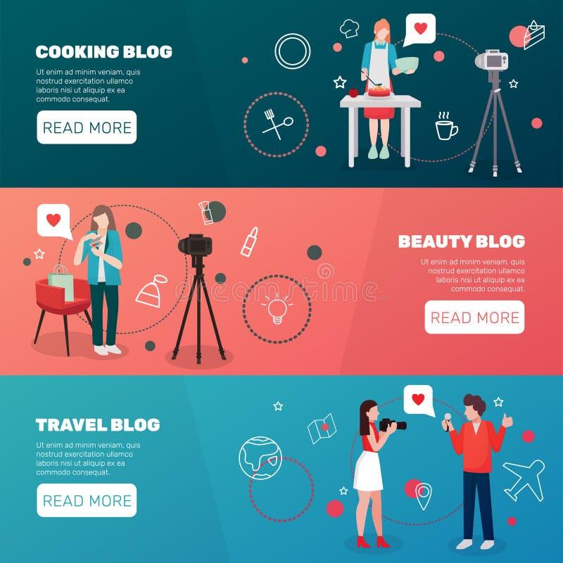Bloggershorisontalbaneruppsättning vektor illustrationer
