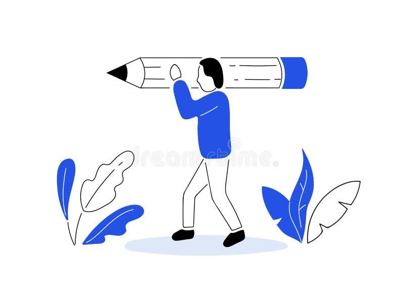 Bloggertecknad filmtecken Plan linje vektorklotterillustration för redaktörcopywriterperson för författare för bloggerjournalisti royaltyfri bild