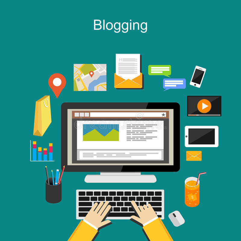 Blogging例证概念 互联网内容 皇族释放例证