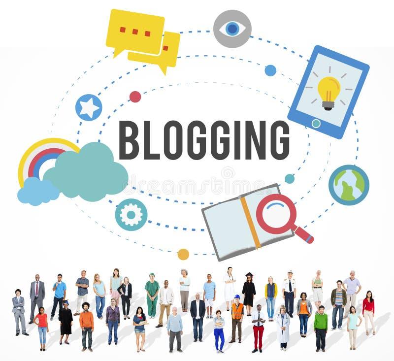 Blogging博克互联网媒介网络社交概念 向量例证