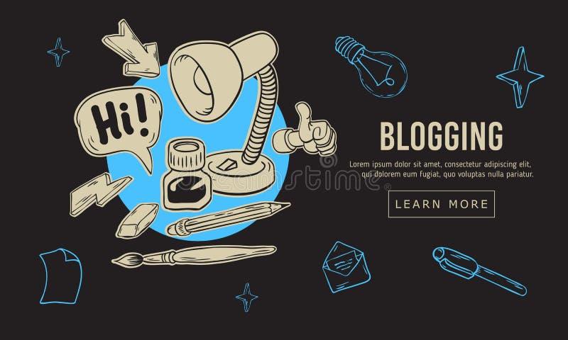Blogging艺术性的动画片手拉的概略线艺术样式图画例证象和标志设计根本 皇族释放例证