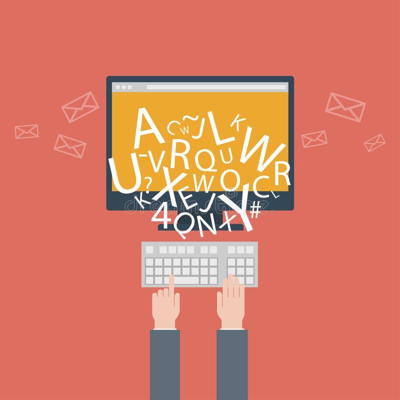 Blogging και γράψιμο για τον ιστοχώρο, ηλεκτρονικό ταχυδρομείο. Διανυσματική απεικόνιση, επίπεδο ύφος σχεδίου με τα καθιερώνοντα τ απεικόνιση αποθεμάτων