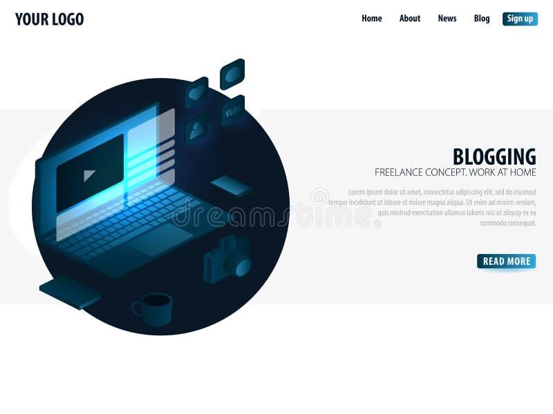 Blogging και κοινωνικά μέσα Μπορέστε να χρησιμοποιήσετε για το έμβλημα ή το infographics Ιστού Ανεξάρτητη έννοια Εργασία στο σπίτ απεικόνιση αποθεμάτων