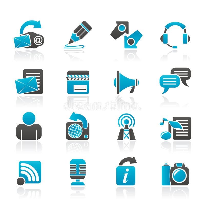Blogging, сообщение и социальные значки сети иллюстрация штока