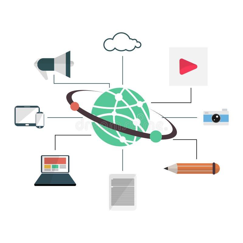 Blogging, удовлетворяйте управление в плоском дизайне иллюстрация вектора
