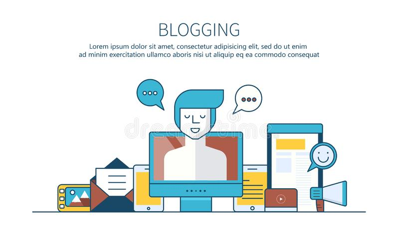 Writing a story or column for newspaper or magazine. Outline concept. Blogging concept. stock illustration