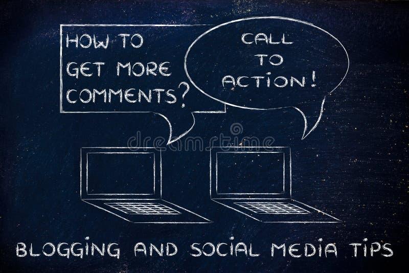Blogging : appel à l'action pour obtenir à plus des commentaires photographie stock libre de droits