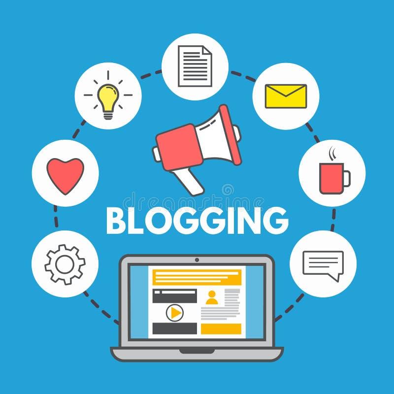 Blogging begrepp på blå bakgrund Bärbar dator- och samkvämmassmediasymboler Linjär stildesign Rengöringsduk som delar begrepp Mod vektor illustrationer