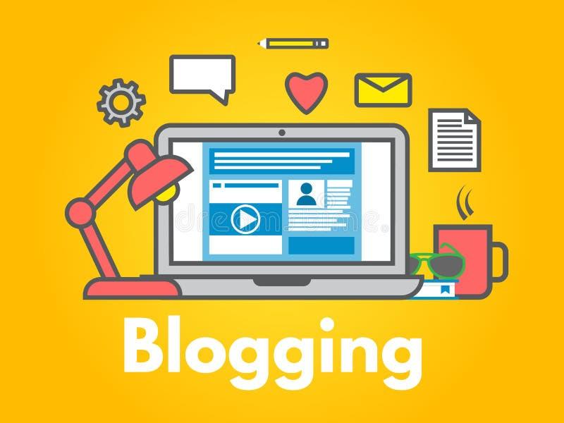 Blogging begrepp på gul bakgrund Bärbar dator med symboler Socialt dela för massmedia Linje stil för bloggstolpelägenhet Se mina  royaltyfri illustrationer