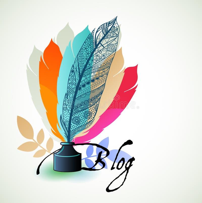 Blogging begreppsfjädrar royaltyfri illustrationer