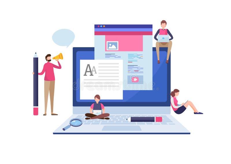 Blogging blogger frilans idérik writing Kopieringsförfattare content administration Miniatyrillustrationvektor för plan tecknad f stock illustrationer