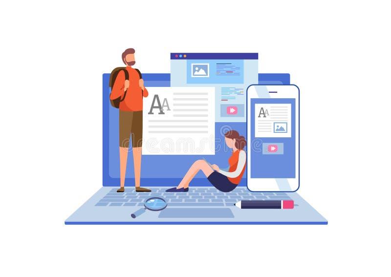 Blogging blogger frilans idérik writing Kopieringsförfattare content administration Miniatyrillustrationvektor för plan tecknad f vektor illustrationer