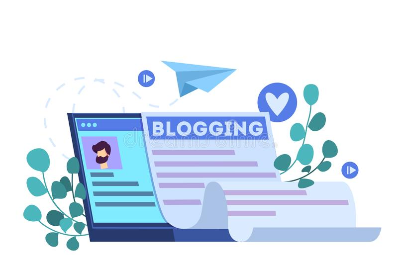 Blogging concept. Idea of social media and network. royalty free illustration