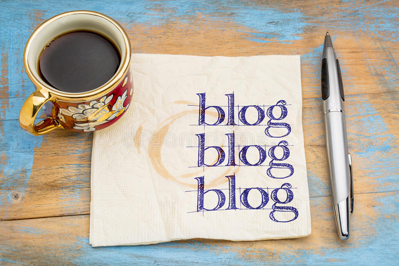 Download Blogging Concept On A Napkin Stock Photo - Image of blog, concept: 65633036