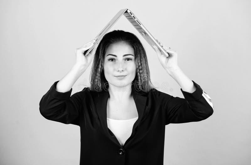 Blogging concept. Online remote job. Girl with laptop computer. Software developer. Developer write code. Project stock image