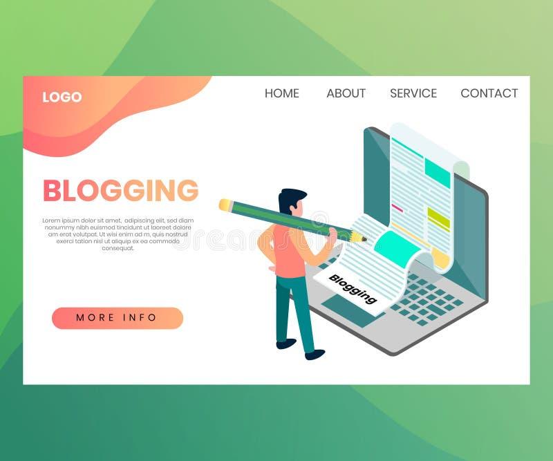 Blogging Concept View Isometric Design stock illustration