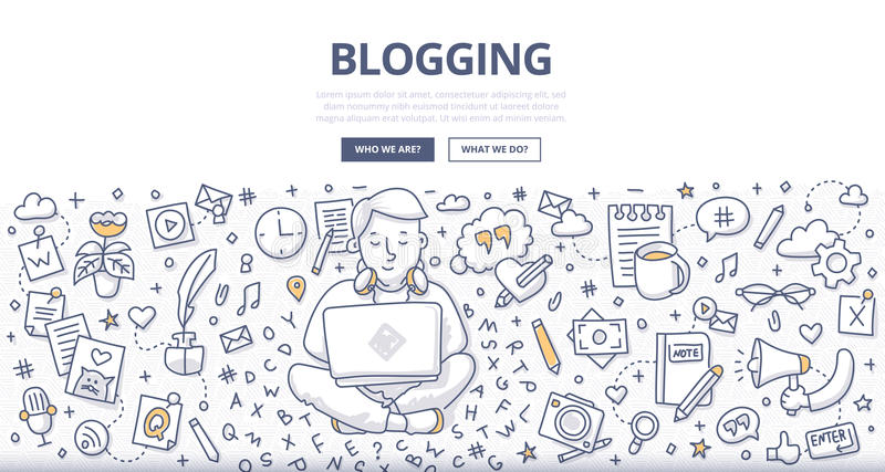 Blogging Doodle Concept. Doodle illustration of a blogger with a laptop working on creating, writing quality content. Concept of blogging for web banners, hero stock illustration