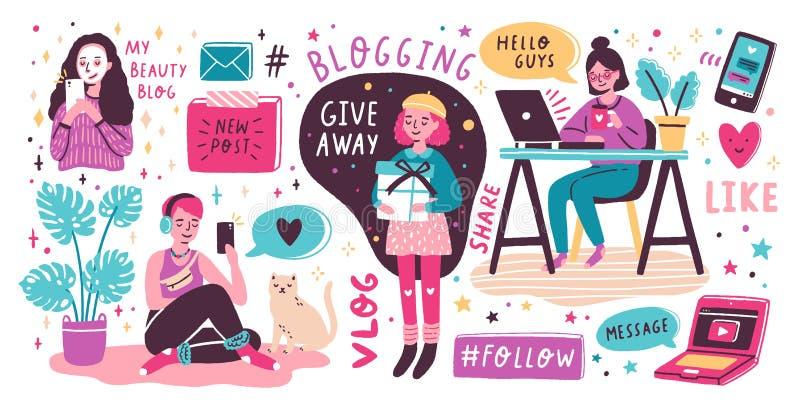 Blogging en het vlogging reeks Het leuke grappige meisjes of bloggers tevreden creëren en het posten van het op sociale media, bl stock illustratie