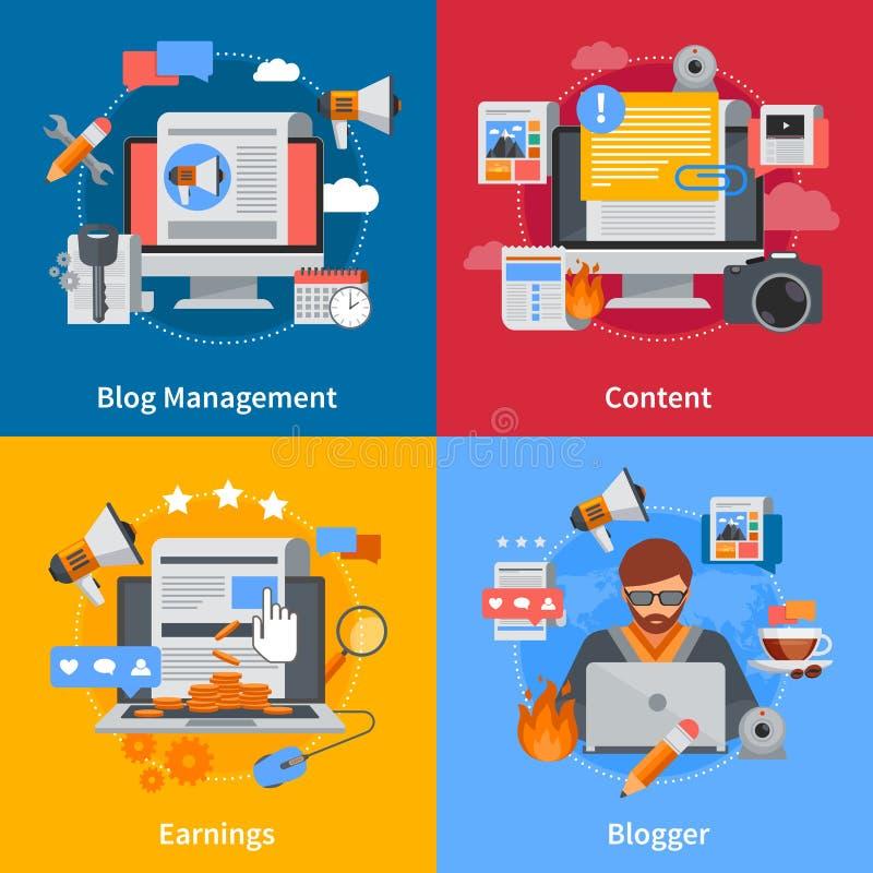 Blogging Flat 2x2 Icons Set royalty free illustration