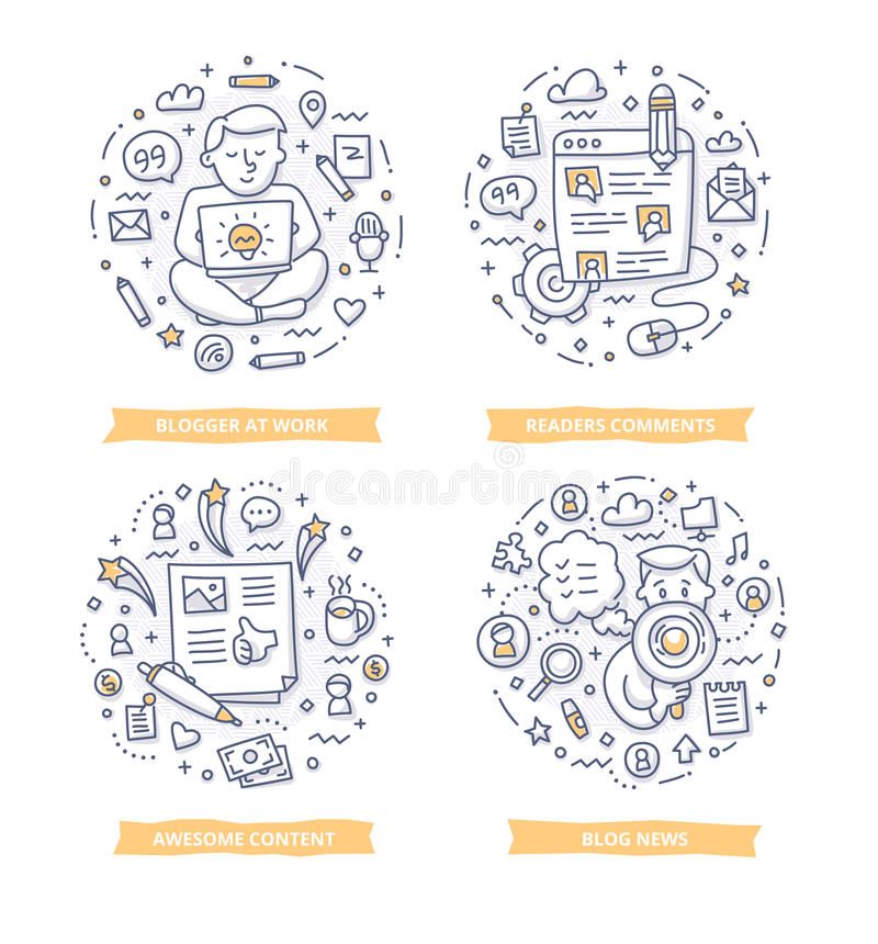 Blogging Gekritzel-Illustrationen lizenzfreie abbildung