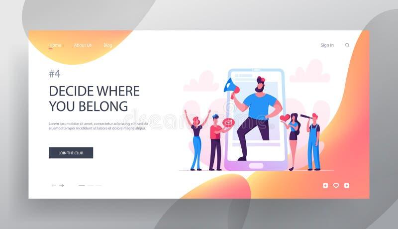 Blogging, het Sociale Media Landingspagina van de Voorzien van een netwerkwebsite, Reusachtige Mens met Megafoontribune bij Smart royalty-vrije illustratie