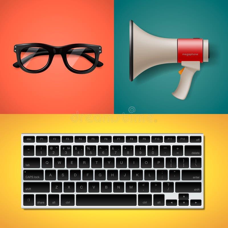 Blogging i pisać dla strony internetowej ilustracji