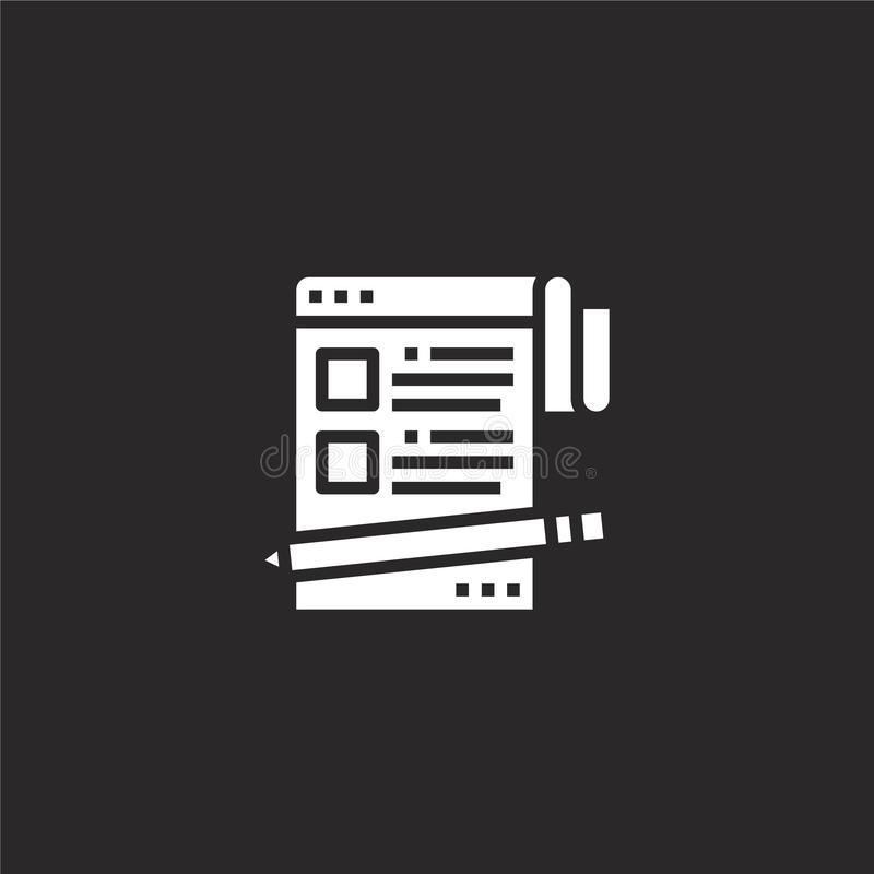 Blogging icon. Filled blogging icon for website design and mobile, app development. blogging icon from filled seo collection. Isolated on black background vector illustration