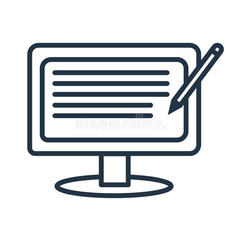Blogging ikona wektor odizolowywający na białym tle, Blogging znak royalty ilustracja