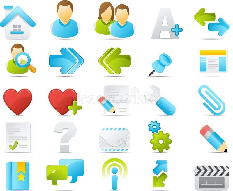 blogging ikony internetów nouve set ilustracji