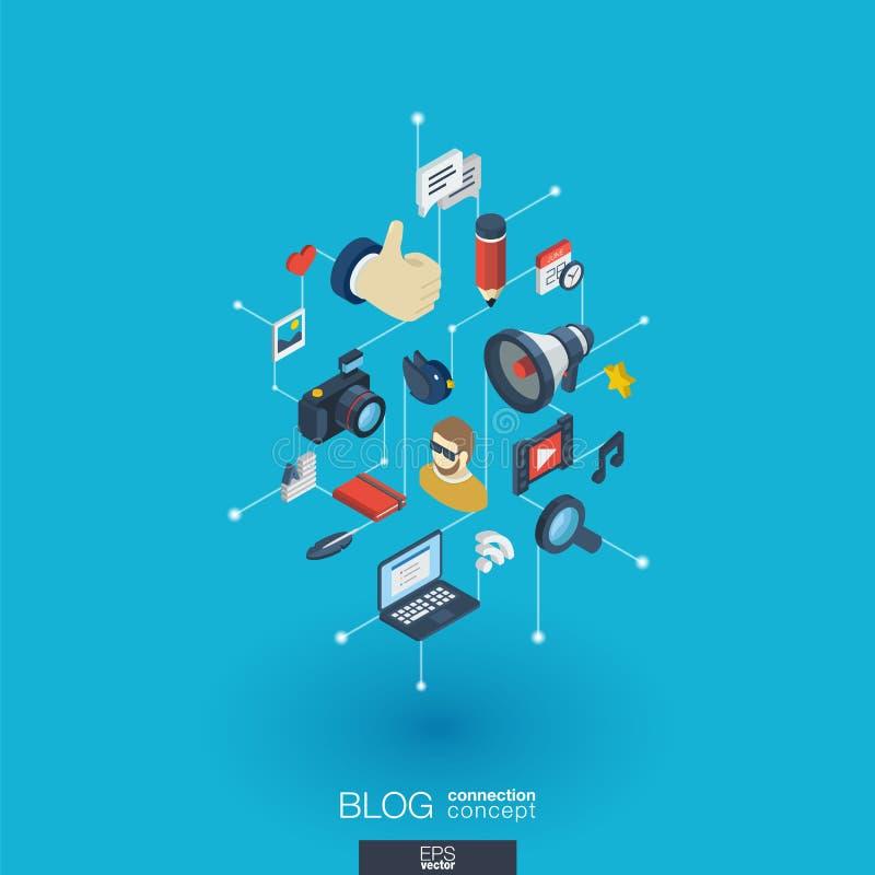 Blogging inbyggda symboler för rengöringsduk 3d Isometriskt begrepp för Digitalt nätverk stock illustrationer