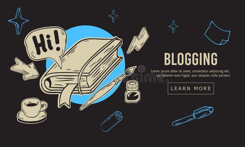 Blogging künstlerische Karikatur-Hand gezeichnete flüchtige Linie Art Style Drawings Illustrations Icons und Symbol-Design von we stock abbildung