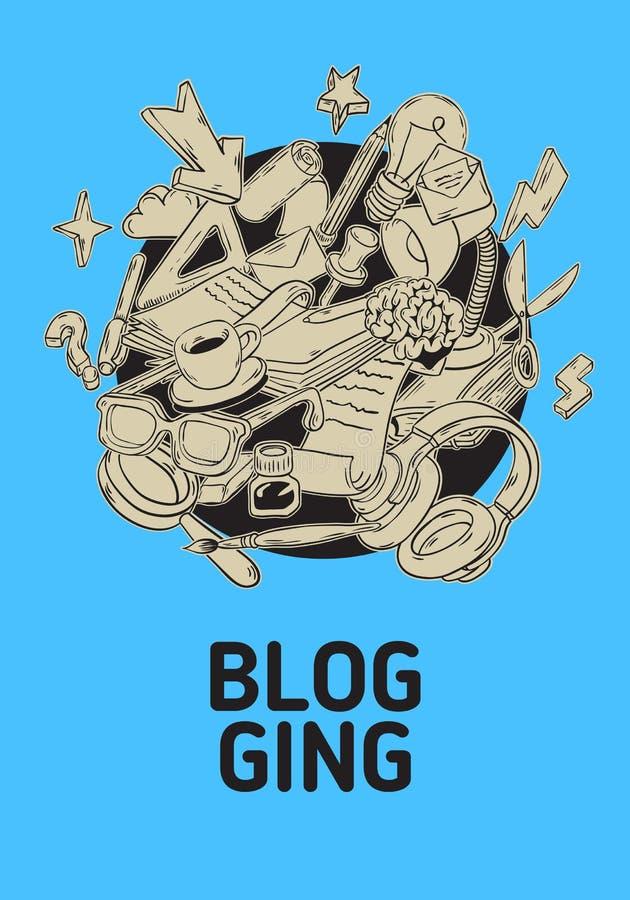 Blogging künstlerische Karikatur-Hand gezeichnete flüchtige Linie Art Style Drawings Illustrations Icons und Symbol-Plakat stock abbildung