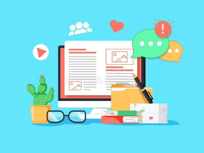 Blogging Konzeptillustration Idee des Schreibensblogs und Herstellungsinhalt für Social Media lizenzfreie abbildung