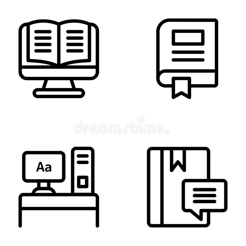 Blogging Line Icons Pack vector illustration