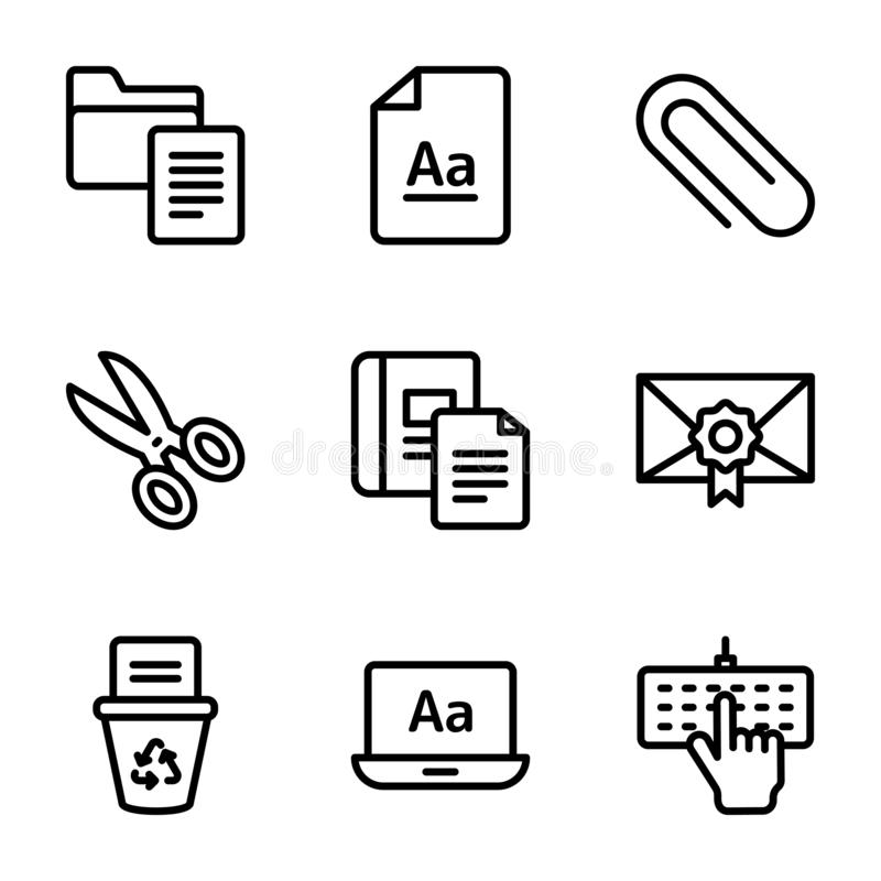 Copywriting Line Icons Pack vector illustration