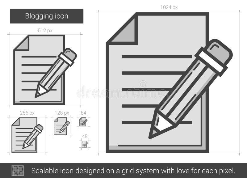 Blogging linje symbol royaltyfri illustrationer