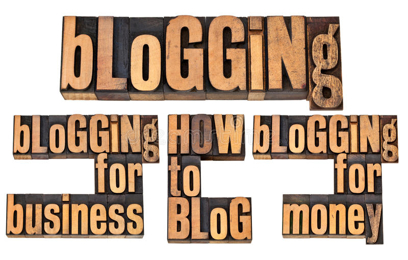 Blogging for money and business stock images