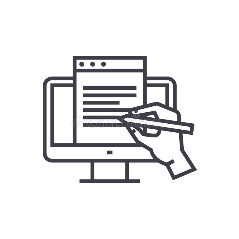 Blogging, monitor with hand concept vector thin line icon, symbol, sign, illustration on isolated background. Blogging, monitor with hand concept vector thin vector illustration