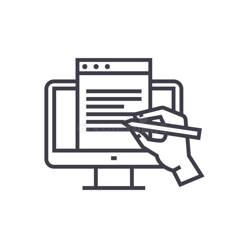 Blogging, monitor z ręki pojęcia wektoru cienką kreskową ikoną, symbol, znak, ilustracja na odosobnionym tle ilustracja wektor