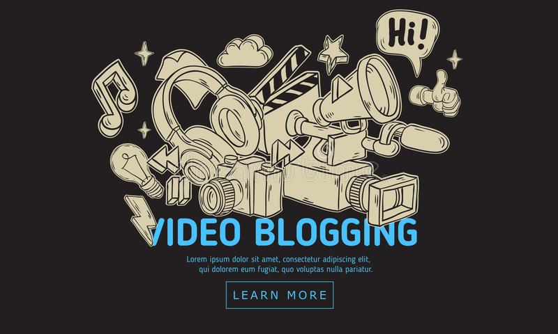 Blogging Netz-Abdeckungs-VideoDesign mit lokalisierten wesentlichen in Verbindung stehenden Gegenstand-Elementen und der Werkzeug stock abbildung
