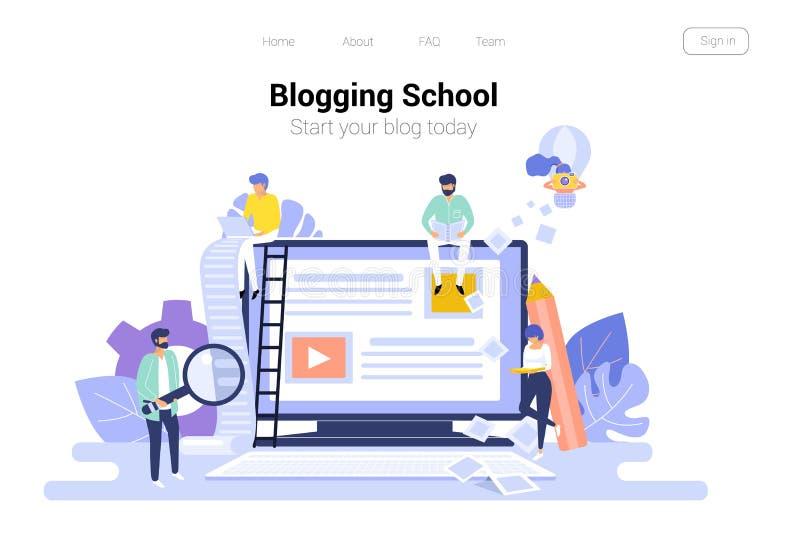 Blogging och copywriting begrepp content administration Illustration för vektor för bakgrund för Seo bloggrengöringsduk stock illustrationer