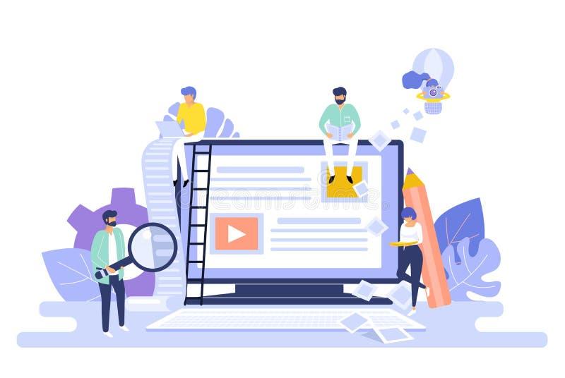 Blogging och copywriting begrepp content administration Illustration för vektor för bakgrund för Seo bloggrengöringsduk vektor illustrationer