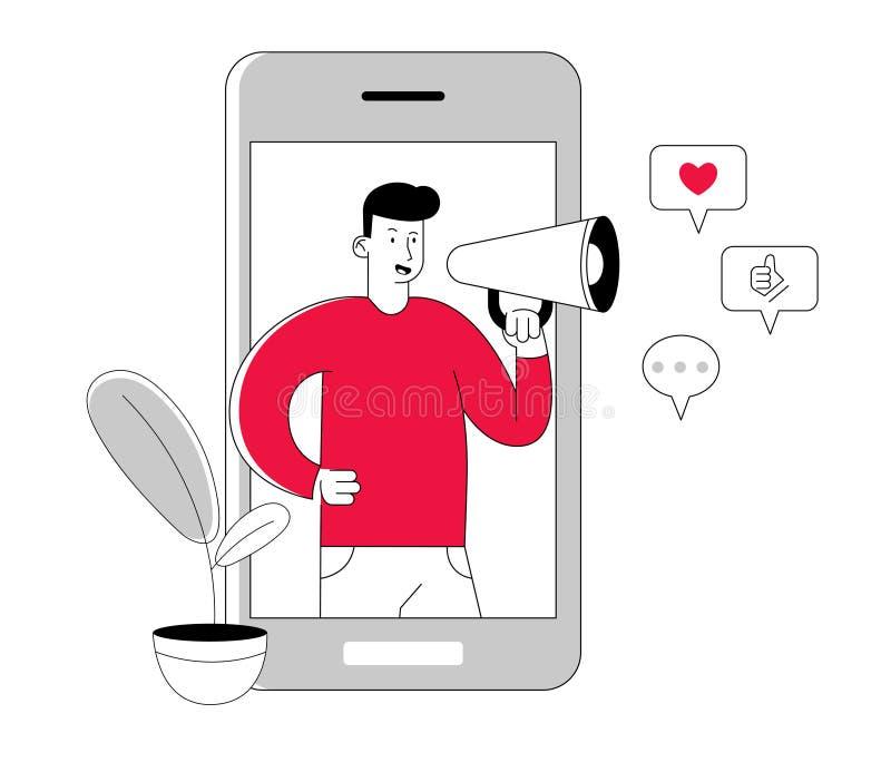 Blogging och socialt massmedia som knyter kontakt begrepp ManBloggerteckenet med megafonen i händer står på Smartphone royaltyfri illustrationer