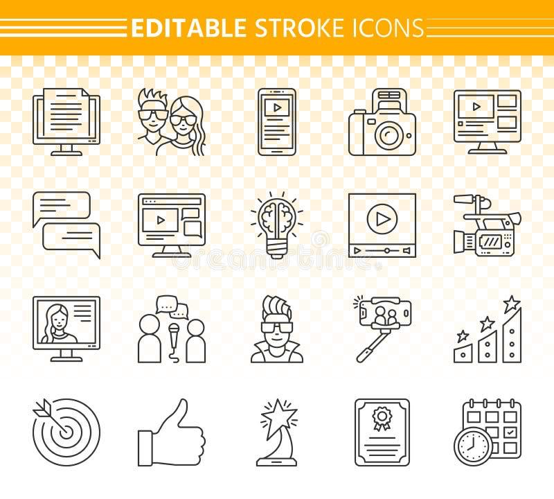 Blogging online-enkel svart linje symbolsvektoruppsättning vektor illustrationer