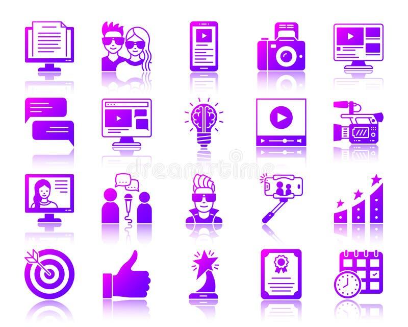 Blogging Online simple gradient icons vector set royalty free illustration