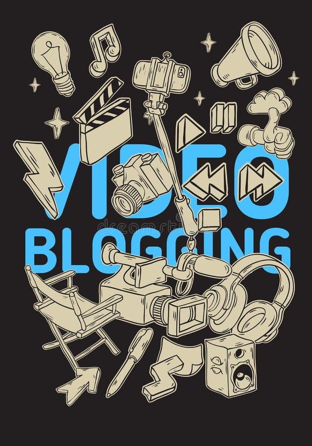 Blogging Plakat-VideoDesign mit wesentlichen in Verbindung stehenden Gegenstand-Elementen und der Werkzeug-künstlerischen Karikat vektor abbildung