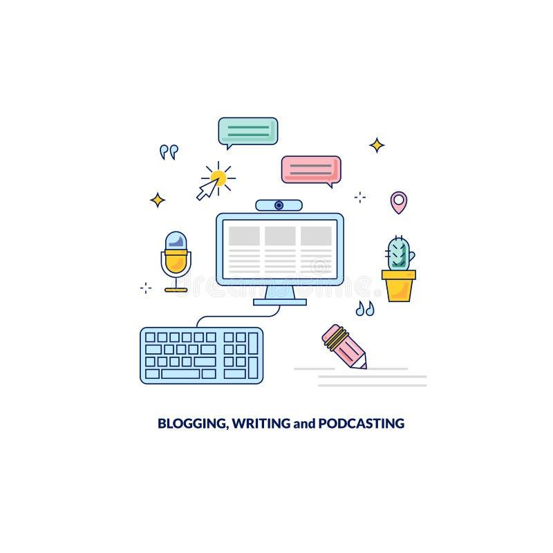 Blogging, podcasting och skriva det nöjda banret royaltyfri illustrationer