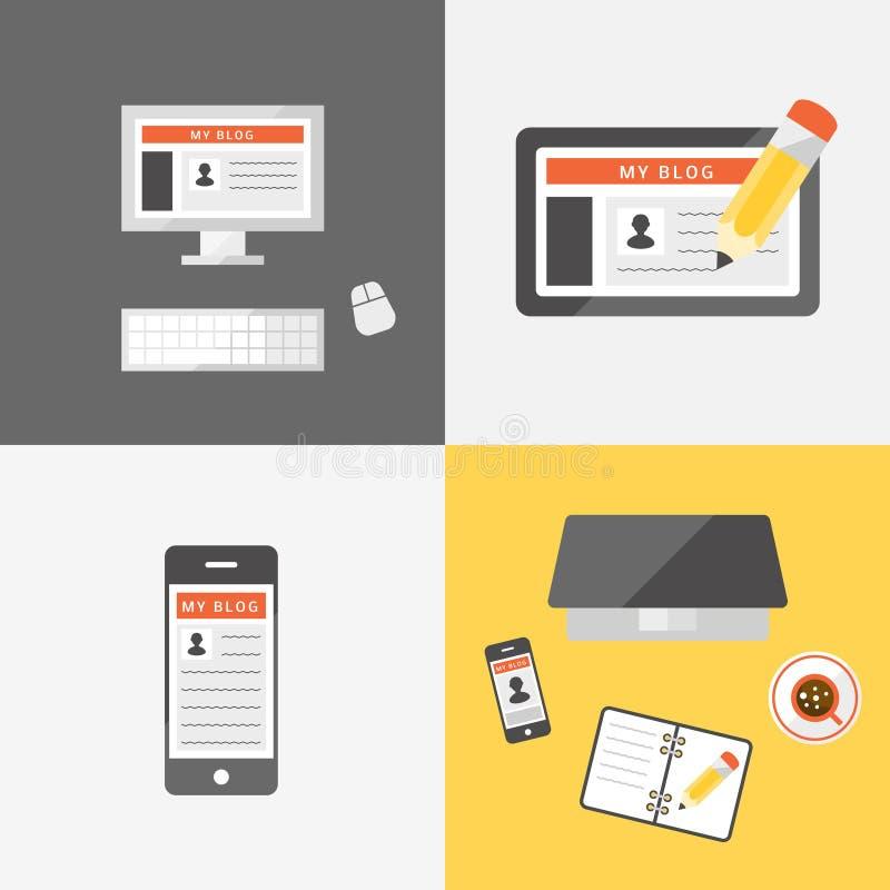 Download Blogging set stock illustration. Image of pencil, blog - 58904797