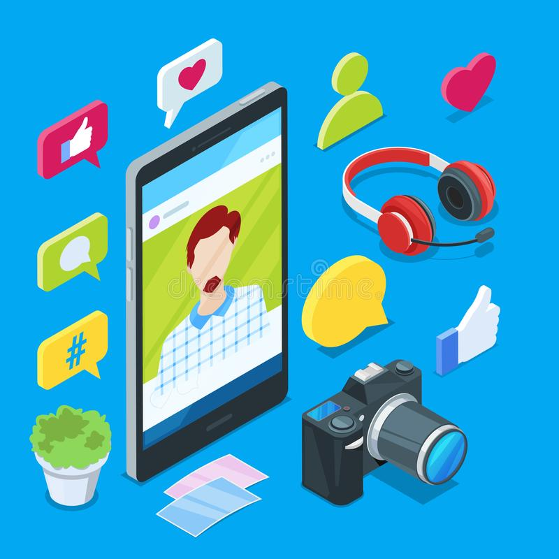 Blogging and social media content creation. Photo or video blog vector 3d isometric icons. Internet business concept stock illustration