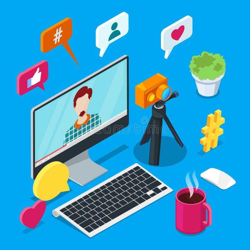 Blogging und des Social Media zufriedene Schaffung Isometrische Ikonen des Foto- oder Videoblogvektors 3d Abbildung 3d vektor abbildung